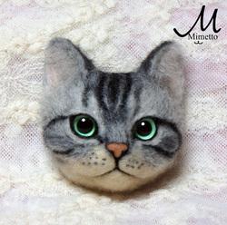 猫顔ブローチ アメショ 熊木早苗 教室 羊毛フェルト 工芸作家 猫