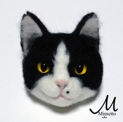 はちわれ 熊木早苗 ミメット 猫 うちのこそっくり 羊毛フェルト 教室 うちのこそっくり 猫顔ブローチ