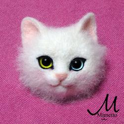 白猫 熊木早苗 ミメット 猫 うちのこそっくり 羊毛フェルト 教室 うちのこそっくり 猫顔ブローチ