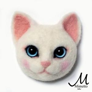 猫顔ブローチ 白猫 レッスン 教室