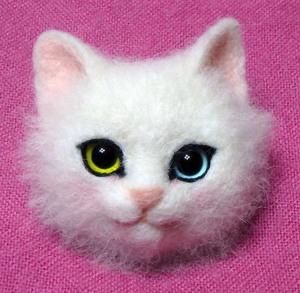 白猫 オッドアイ 熊木早苗 羊毛フェルト ミメット 教室 ワークショップ 1day 体験教室