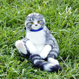 スコ座り 猫 熊木早苗 羊毛フェルト スコティッシュフォールド ミメット