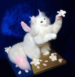 桜花 ロンドン 熊木早苗 白猫 長毛 桜 羊毛フェルト 教室 ミメット 本物そっくり